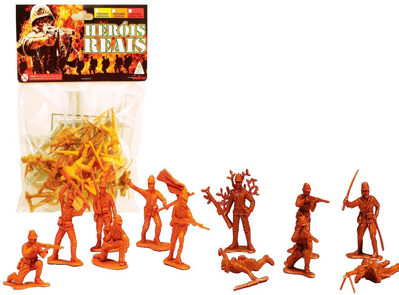 Heróis Reais Soldadinho Brinquedo Com 24 Figuras Cercados Ação Guerra Resistente Colorido Verde Laranja Cinza Original Gulliver Activity