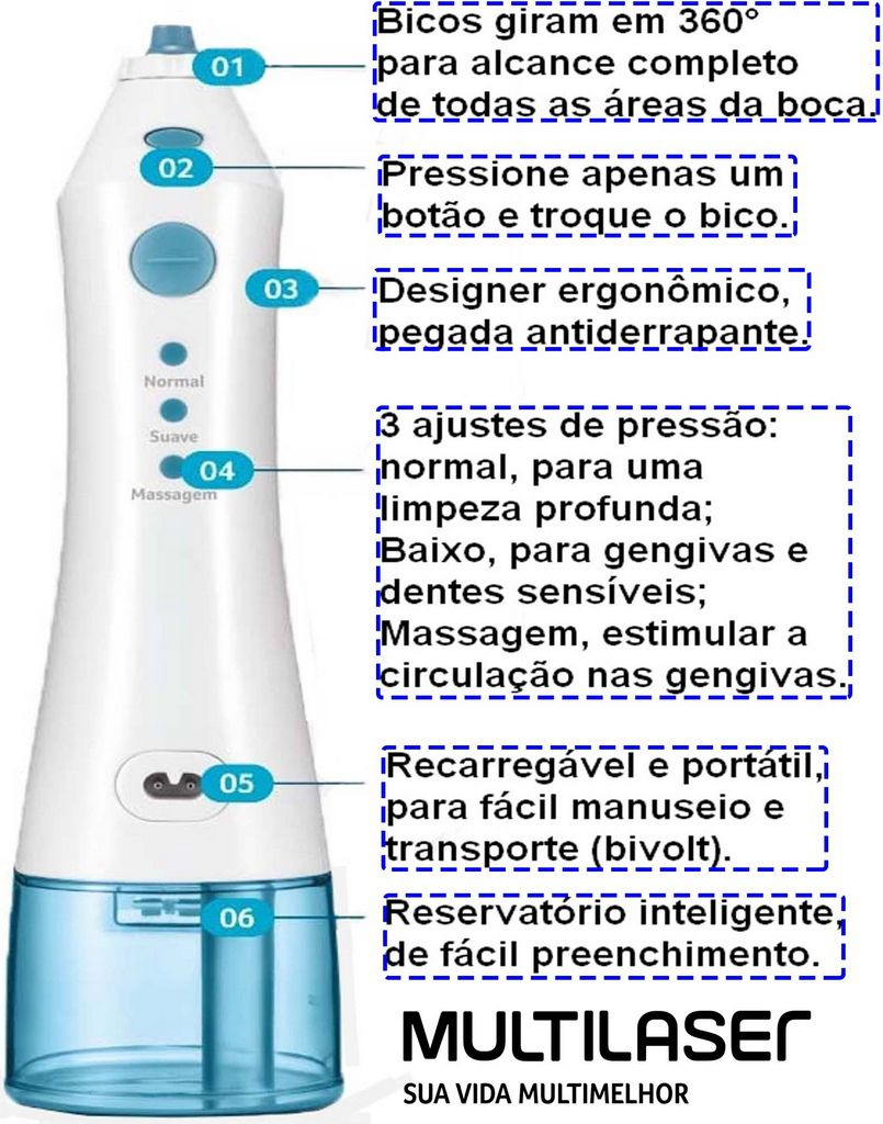 Irrigador Oral Bucal Portátil Recarregável Bivolt 200 ml Limpeza Profunda Aparelho Dental Sem Fio 3 Velocidades Bivolt Clearpik Multilaser