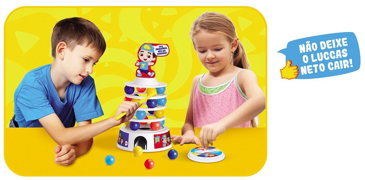 Jogo Avalanche Luccas Neto Original Brinquedo Infantil Bolhas De Sabão Torre Desafio Menino Menina Lançamento Elka