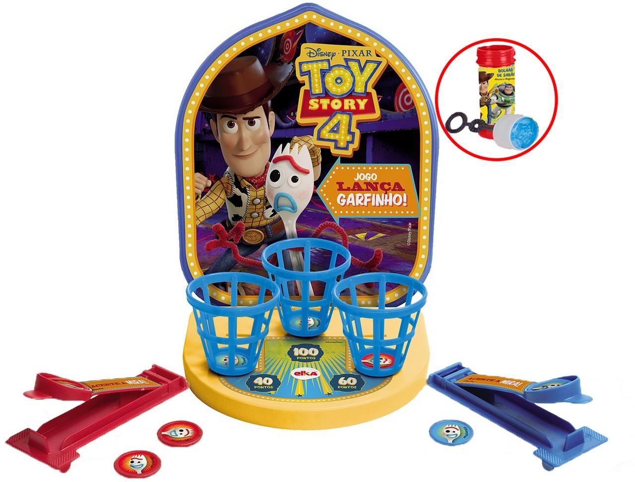 Jogo Lança Garfinho Toy Story 4 Brinquedo Educativo Infantil Bolhas De Sabão Menina Menino +4 Anos Lançamento 2019 Elka Original