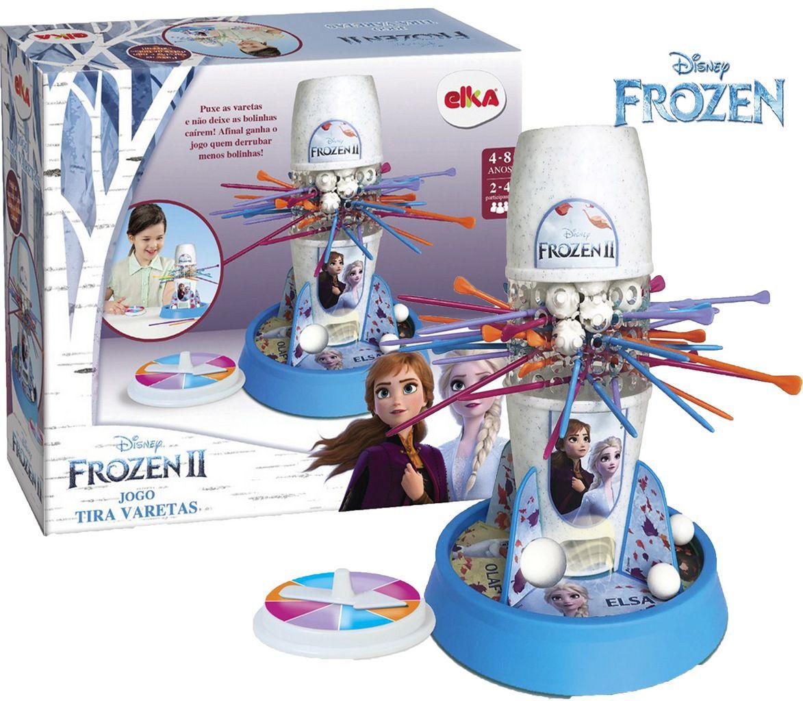Jogo Tira Pega Varetas Frozen 2 Menina Raciocínio Equilíbrio Brinquedo Novo Azul Divertido Infantil Elka
