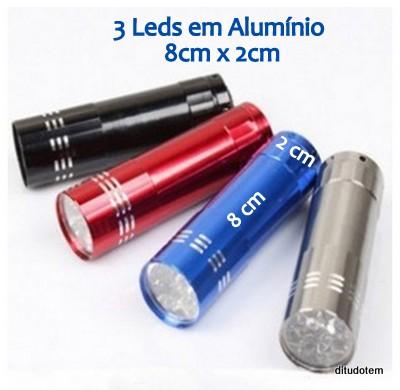 Kit 12 Mini Lanterna Tática Com 3 Leds Em Aluminio