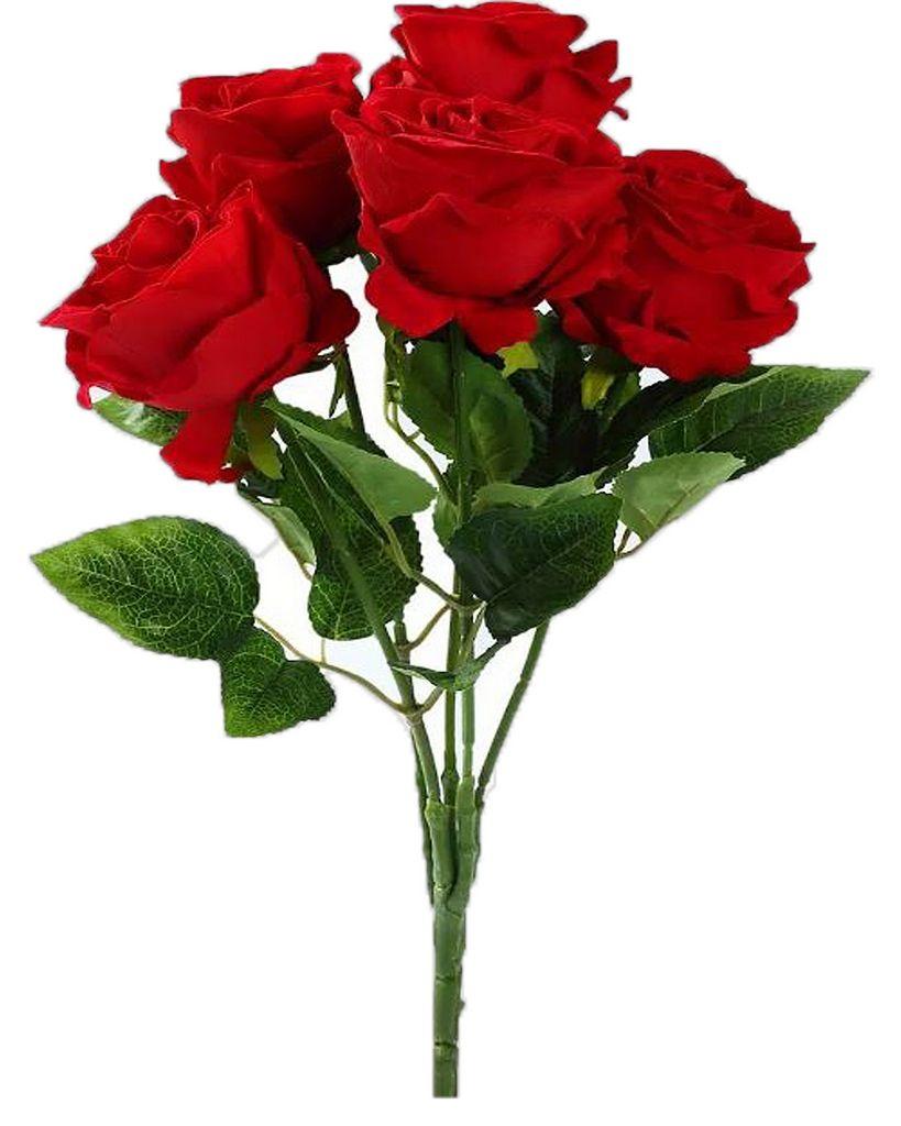Kit 2 Buquês De Rosas Artificiais Vermelha Aberta Decorativa Original Além Mar