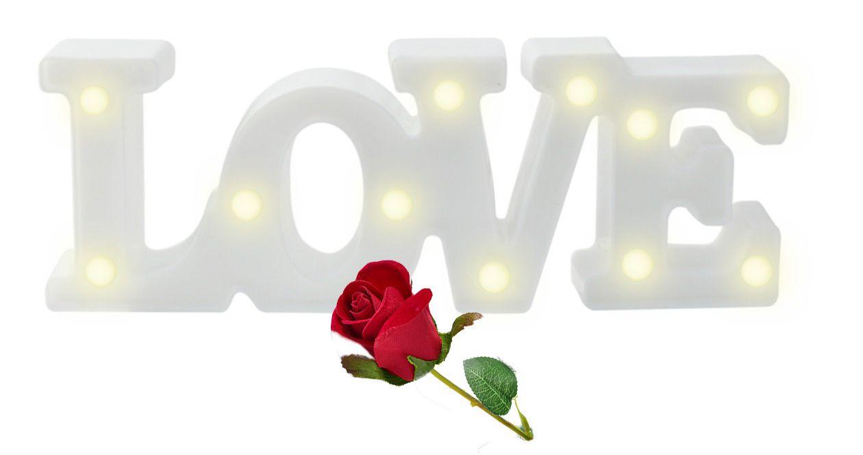 Kit 2 Luminárias Brancas Decorativas Coração 5 Leds E Love 11 Leds Casita