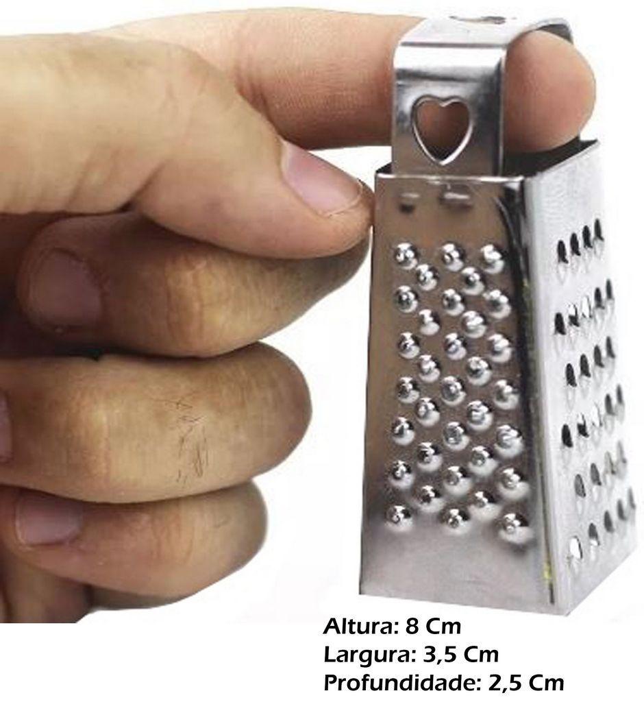 Kit 6 Mini Ralador Fatiador 4 Faces 8 Cm Inox Coração KEHOME