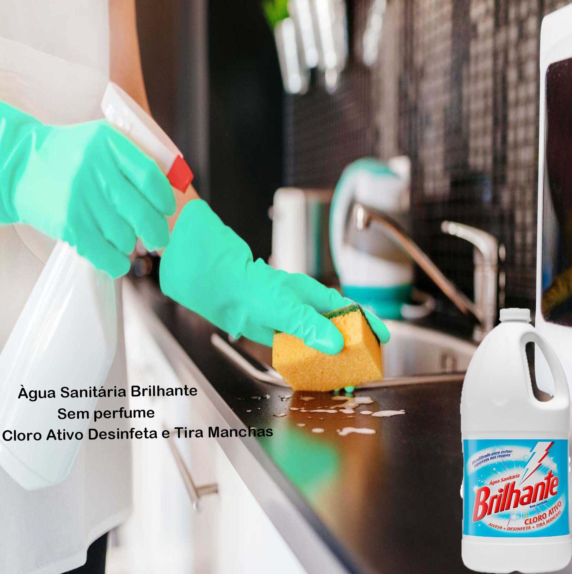 Água Sanitária Cloro Ativo 2 Unidades  Alvejante Desinfetante Bactericida Tira Manchas Sem Perfume Multiuso Higienização Limpeza Com Alça Brilhante