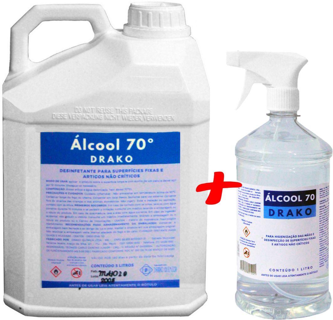 Alcool 70 Liquido Com Borrifador Spray Pulverizador Etílico Hidratado Manual 1 Litro + Galão 5 Litros Alcool Antisséptico Limpeza  Drako
