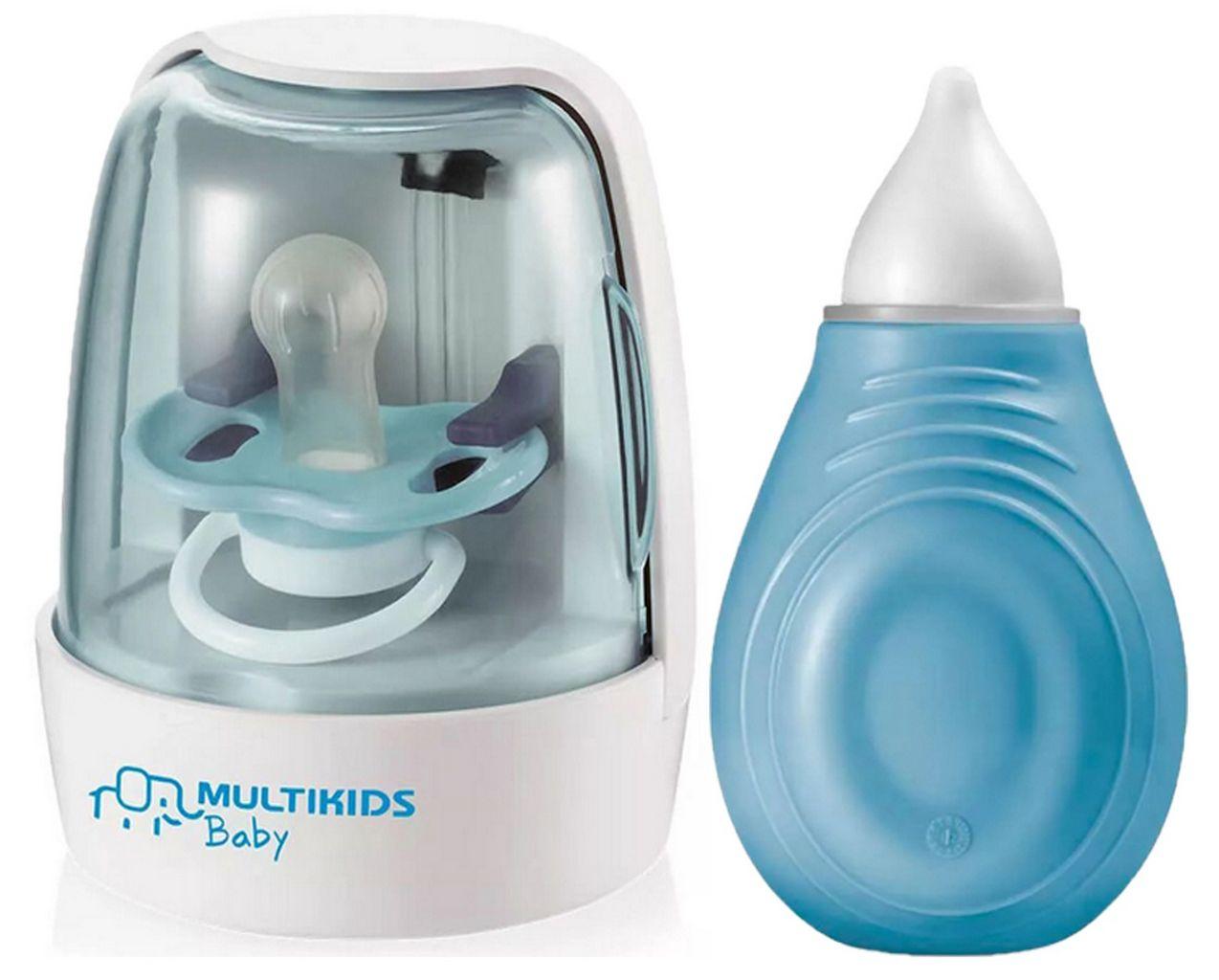 Kit Aspirador Sugador Nasal Azul Menino Bebe + Esterilizador Chupeta BB245 BB012
