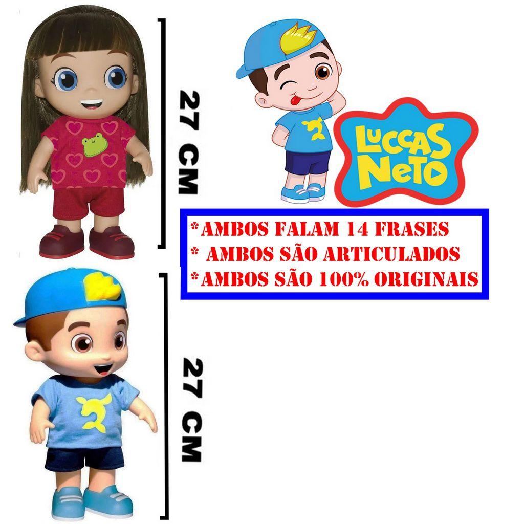 Kit Boneco Luccas Neto Fala 14 Frases e Boneca Gi Aventureira Vermelha Infantil Menino Menina Lançamento Rosita