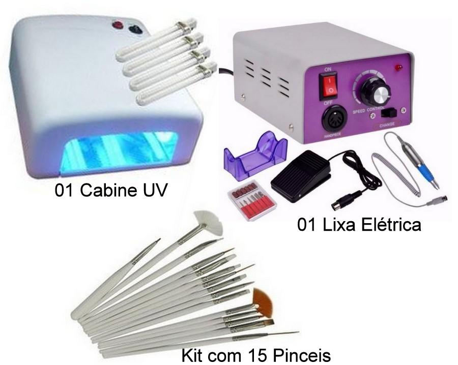 Kit  Cabine UV + Lixa Elétrica Lina + Kit 15 Pinceis de Decoração