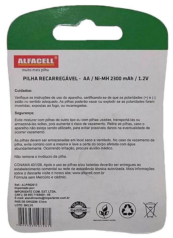 Carregador De Pilhas Bivolt 9 Horas AA Ou AAA + 2 Pilhas Recarregáveis AA 2300 MAH