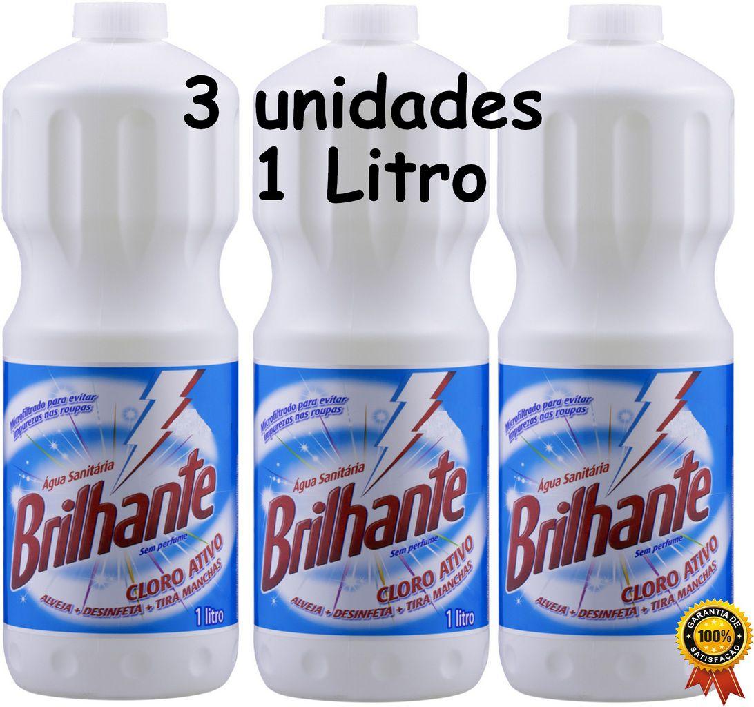 Água Sanitária Cloro Ativo 1 Litro Brilhante 3 Unidades Alvejante Desinfetante Bactericida Tira Manchas Roupas Sem Perfume Higiene Limpeza Multiuso