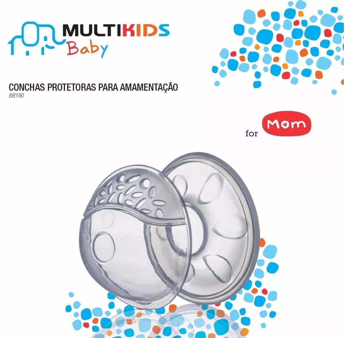 Kit Conchas Protetoras Para Amamentação + Bomba Manual Tira Leite BB190 BB010