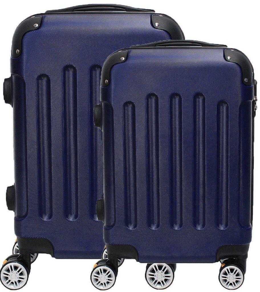 Kit Conjunto 2 Malas De Bordo Viagem 18'' 20'' Abs Rígida Pequena 4 Rodinhas 360° Cadeado Senha Azul Hinza Original ANAC