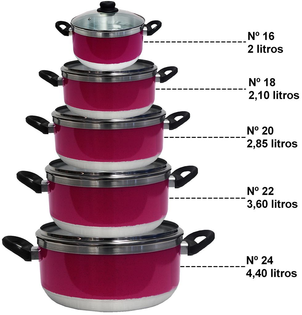 Kit Conjunto Caçarolas Panelas Alumínio Resistente Rosa Tampa Vidro 5 Peças Fort Lar Cônica Plus Pink Original