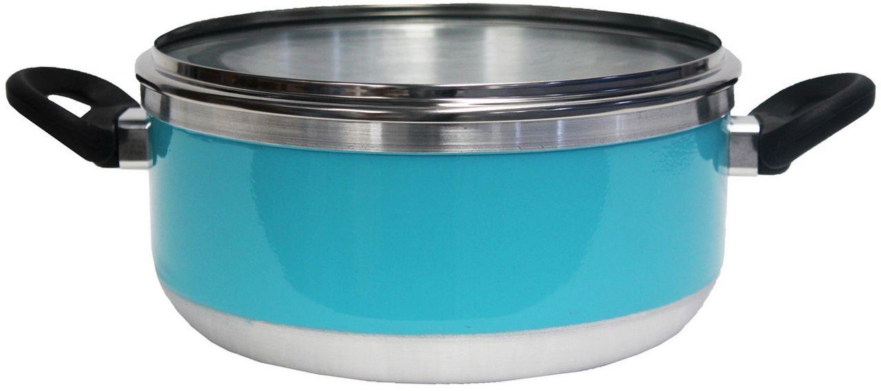 Kit Conjunto Caçarolas Panelas Alumínio Resistente Tampa Vidro 5 Peças Fort Lar Cônica Plus Azul Tiffany Original