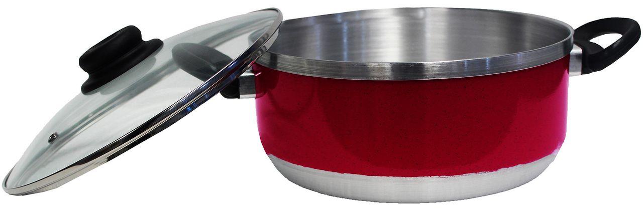 Kit Conjunto Caçarolas Panelas Alumínio Resistente Tampa Vidro 5 Peças Fort Lar Cônica Plus Vermelha Original