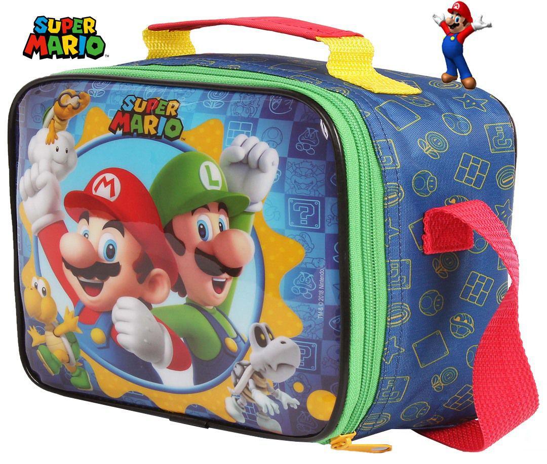 Kit Conjunto Escolar Super Mario Infantil Menino Mochila + Lancheira Estojo DMW
