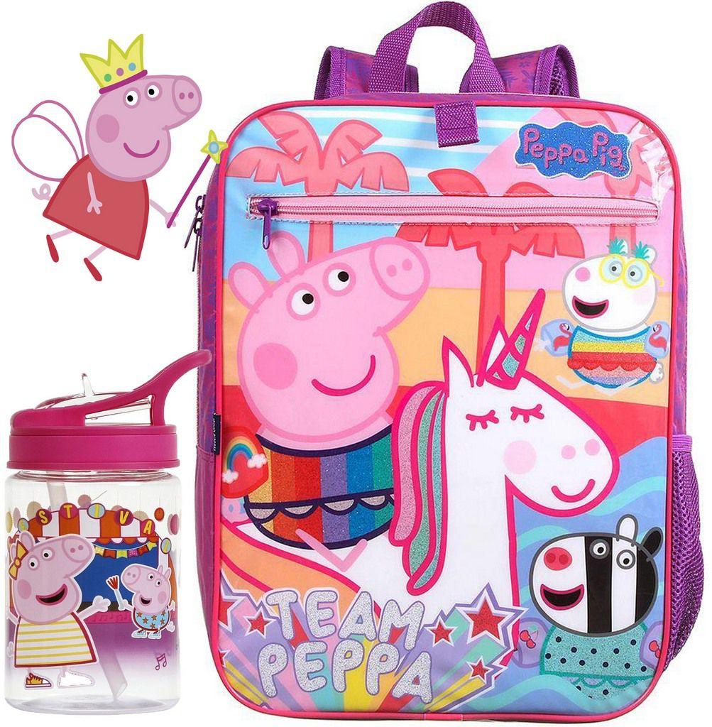 Kit Conjunto Mochila Bolsa Escolar Infantil Peppa Pig Grande Rosa Costas Menina Garrafinha 350ml Decorada Vedada Acrílica Resistente Dermiwil