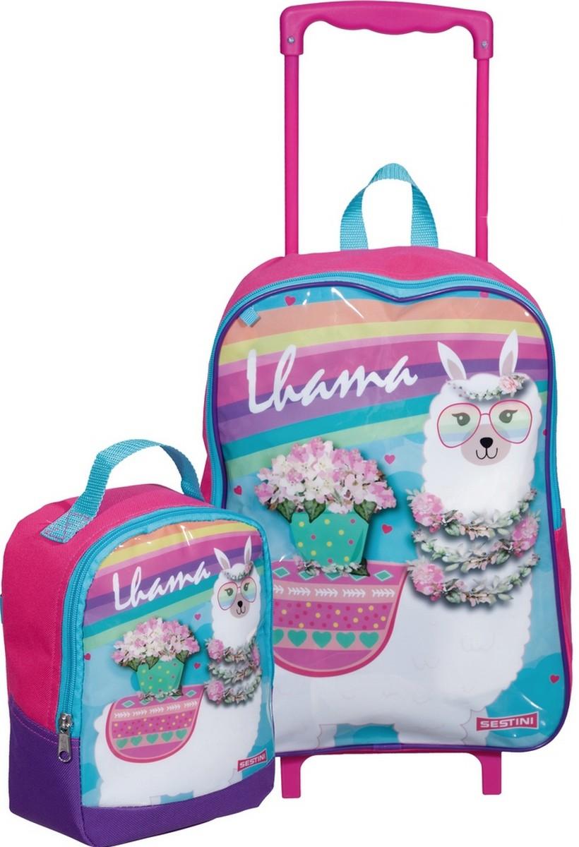 Kit Conjunto Mochila Escolar Carrinho Rodinha Infantil Lhama Menina Floral + Lancheira Térmica Rosa Lançamento Sestini