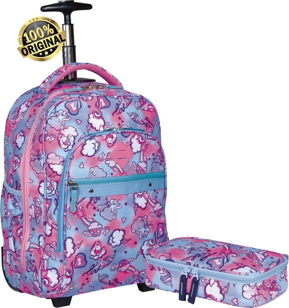 Kit Conjunto Mochila Escolar Feminina Juvenil Impermeável Unicórnio Rodinha Carrinho Rosa + Estojo 1 Compartimento Grande Resistente Sestini