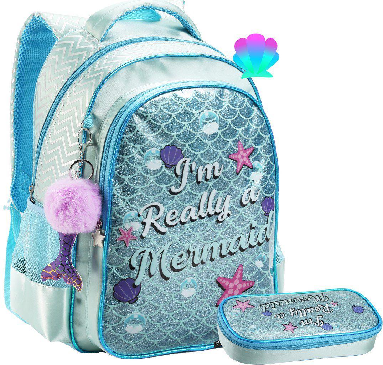 Kit Conjunto Mochila Escolar Feminina Juvenil Infantil Impermeável Sereia Unicórnio Chaveiro Costa Grande Brilhosa + Estojo Grande Seanite