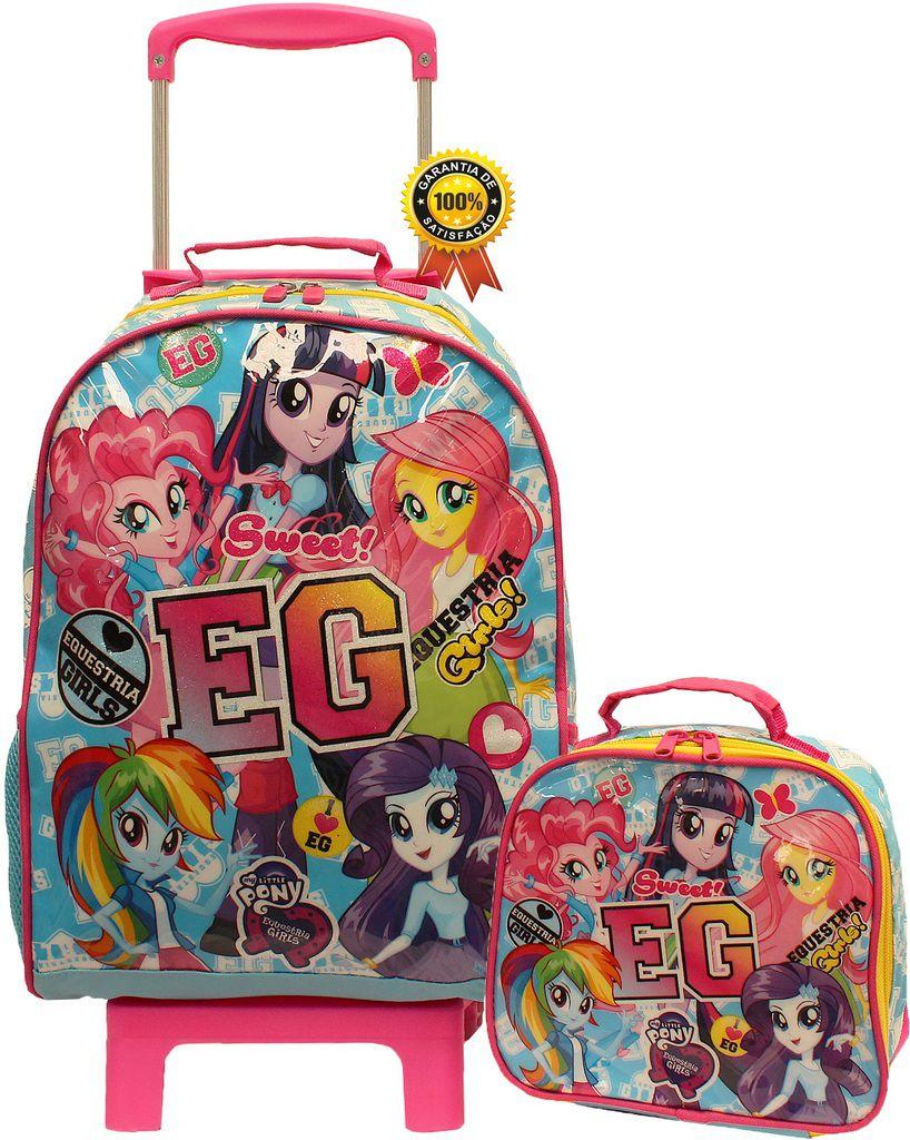 Kit Conjunto Mochila Escolar Infantil Feminina Esquestria Girl Rodinha Grande Resistente Menina + Lancheira Térmica Pote Garrafinha DMW