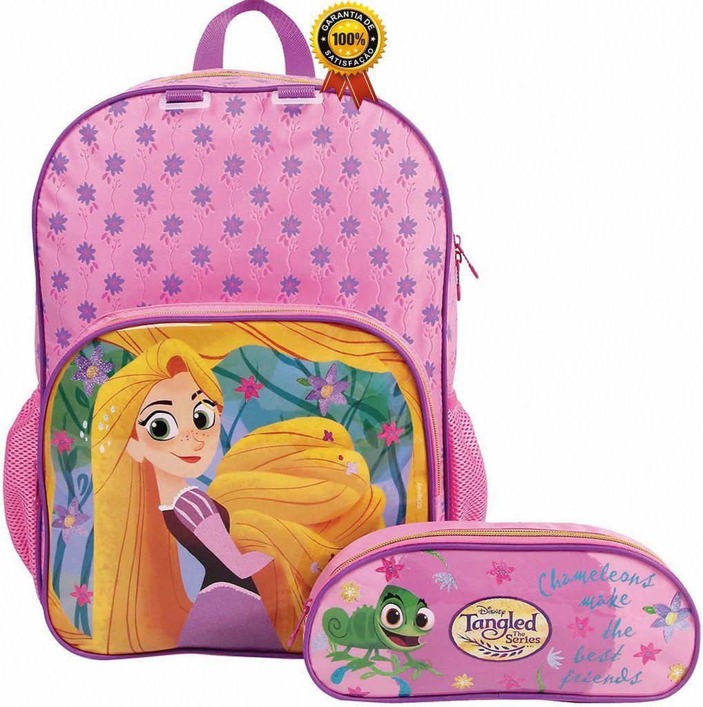 Kit Conjunto Mochila Escolar Infantil Feminina Impermeável Rapunzel Costas Resistente Grande Menina Rosa Com Estojo Removível Dermiwil