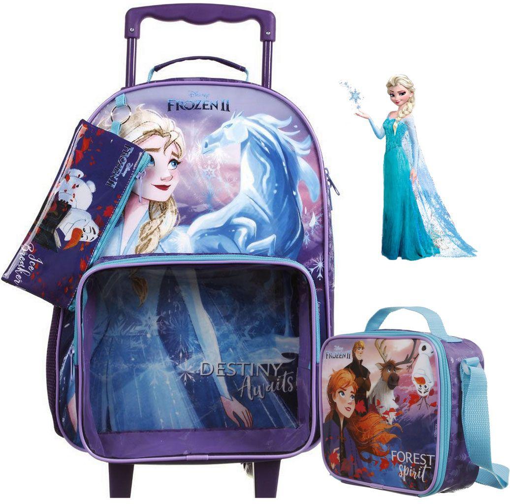 Kit Conjunto Mochila Escolar Infantil Frozen 2 Rodinha Carrinho Menina Lancheira Térmica Potinho Garrafinha Estojo Olaf Lançamento 2020 Dermiwil