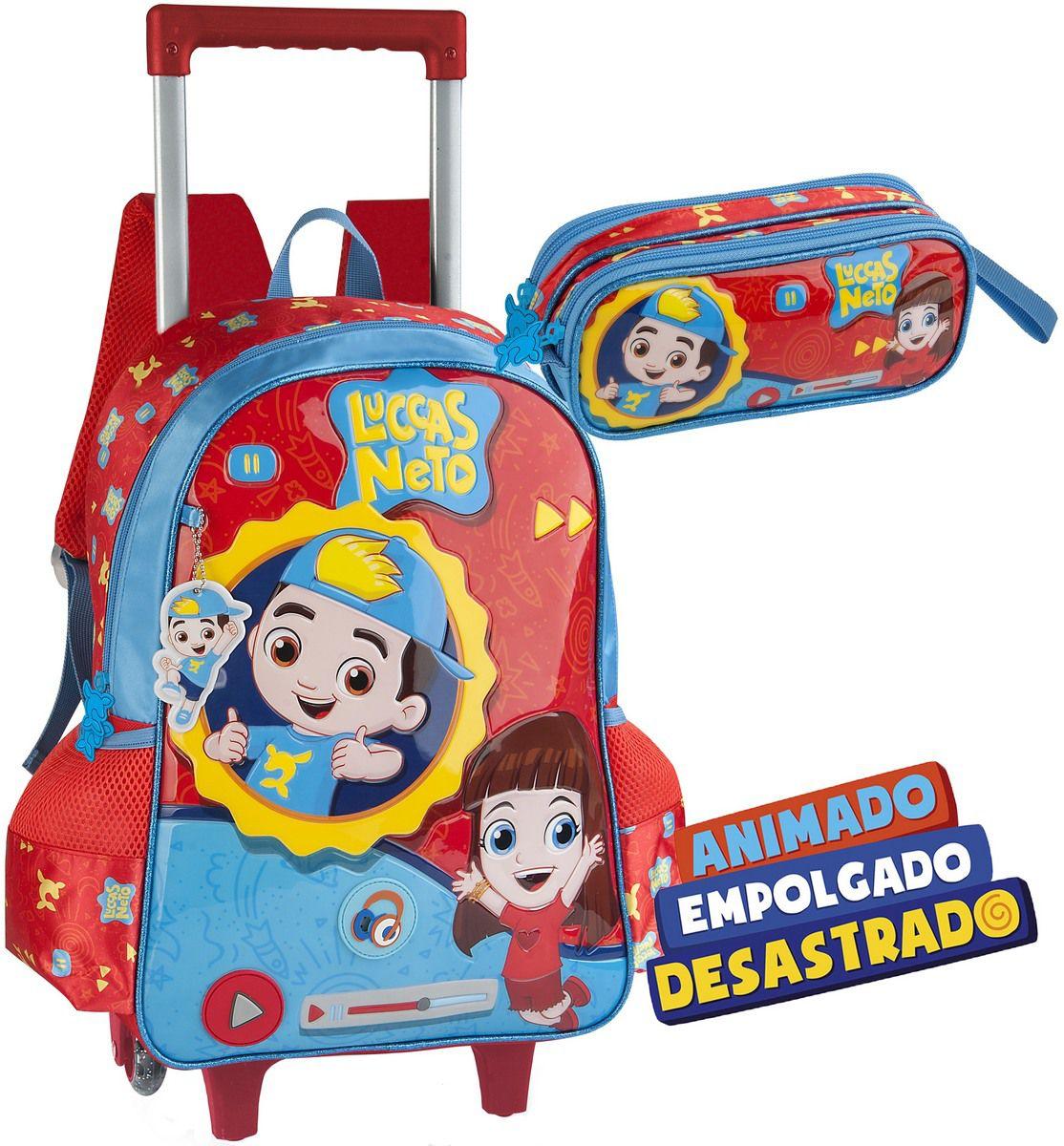 Kit Conjunto Mochila Escolar Infantil Luccas Neto Rodinhas Carrinho Impermeável Alça De Costas Resistente Grande Vermelha Menino + Estojo Duplo Clio