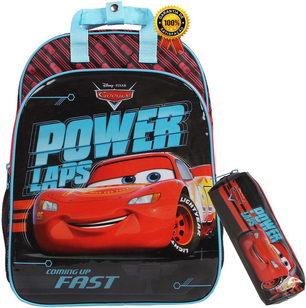 Kit Conjunto Mochila Escolar Infantil Masculina Carros Costas Grande Resistente Menino + Estojo Simples 1 Compartimento Dermiwil