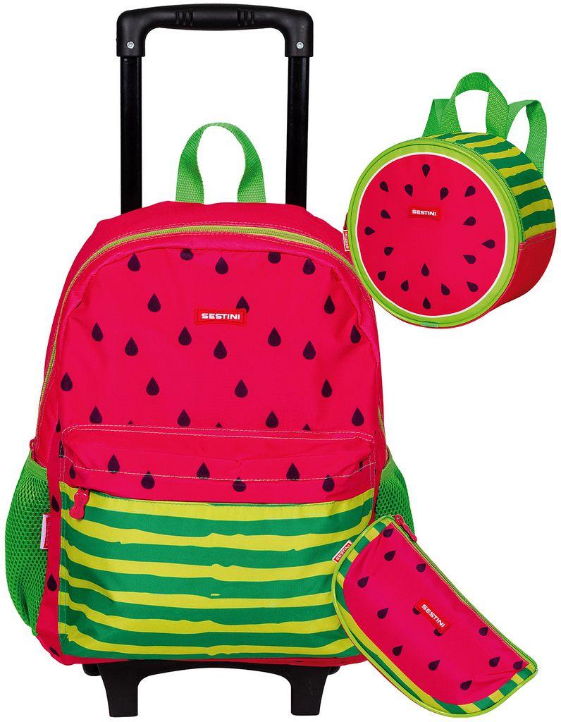 Kit Conjunto Mochila Escolar Infantil Melancia Rodinha Carrinho Infantil Menina Lancheira Térmica Estojo 1 Compartimento Sestini