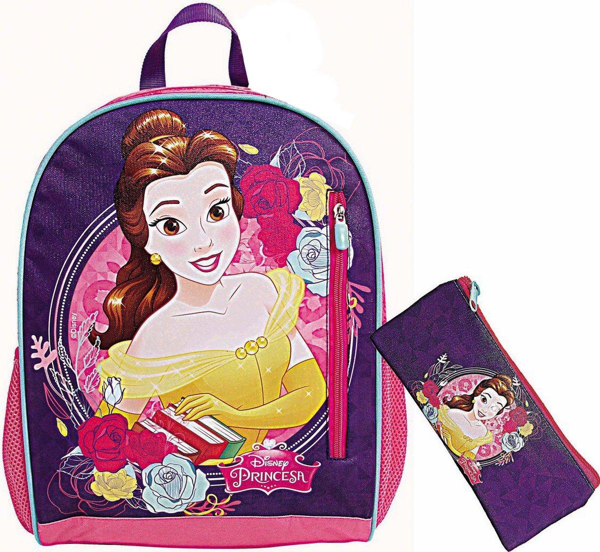 Kit Conjunto Mochila Escolar Infantil Menina Bela E A Fera Glitter Costas Resistente Grande Feminina + Estojo Simples 1 Compartimento Dermiwil
