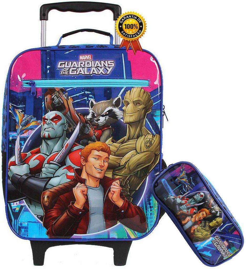 Kit Conjunto Mochila Escolar Infantil Rodinha Guardiões Da Galáxia Menino Resistente Grande + Estojo 2 Divisórias Lançamento Marvel DMW