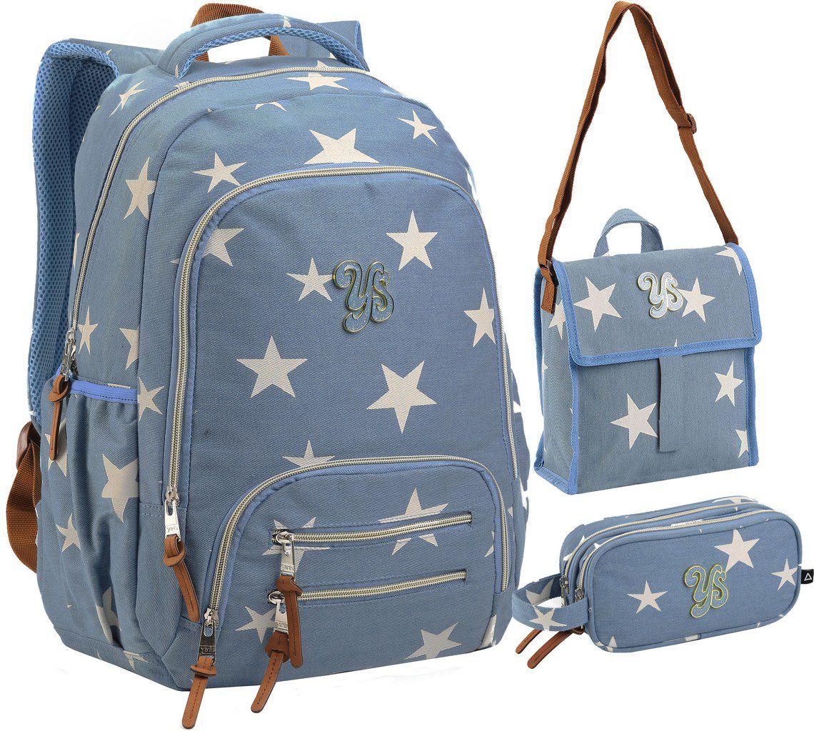 Kit Conjunto Mochila Feminina Escolar Juvenil Impermeável Grande Estrela Costas Azul + Estojo Duplo + Lancheira Térmica Transversal Seanite