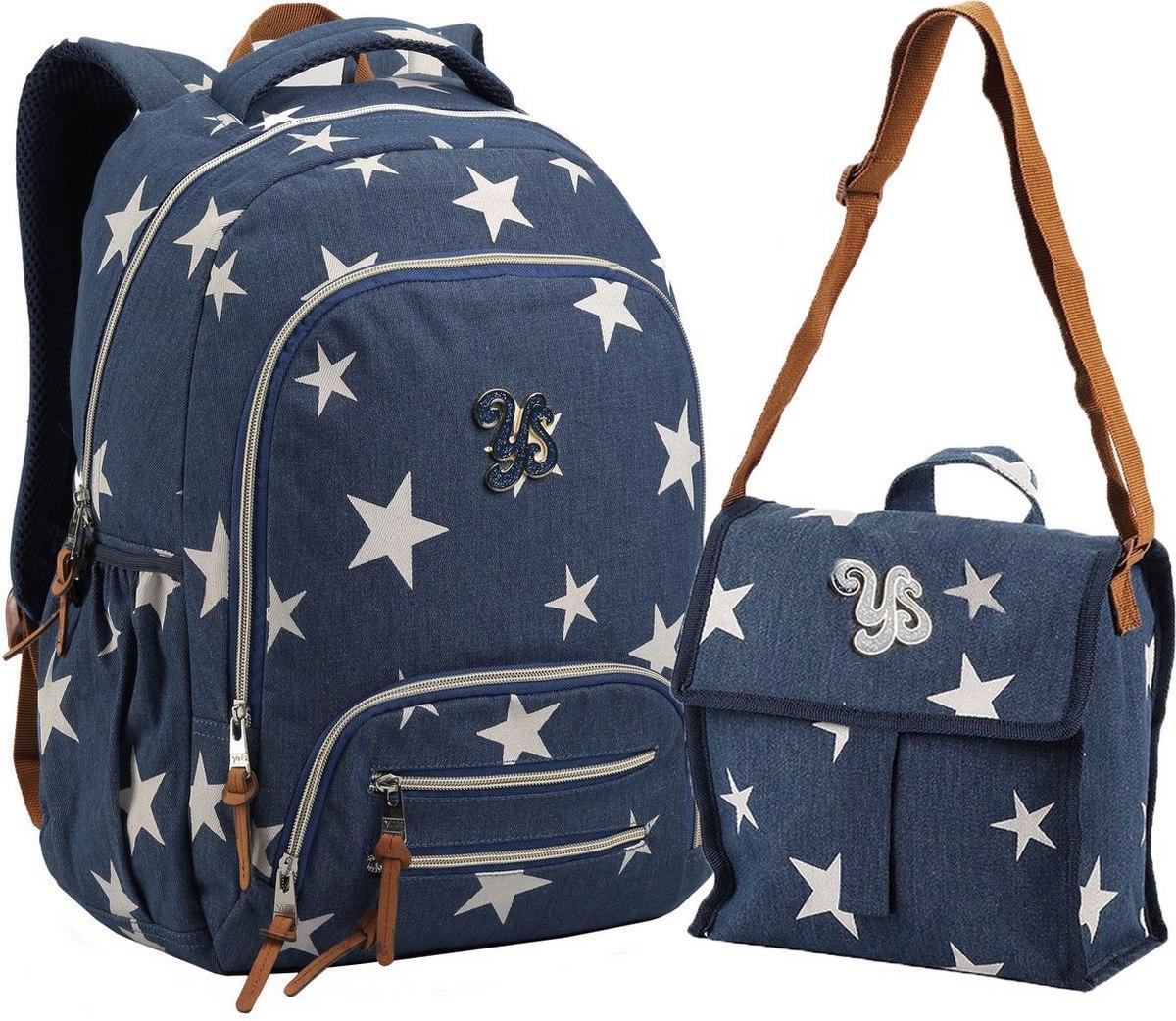 Kit Conjunto Mochila Feminina Escolar Juvenil Impermeável Grande Estrela Costas Azul + Lancheira Térmica Transversal Seanite