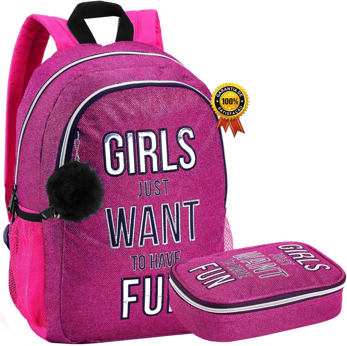 Kit Conjunto Mochila Feminina Juvenil Impermeável Escolar Costas Brilhosa Chaveiro Pom Pom + Estojo Grande Resistente Glitter Lançamento Seanite