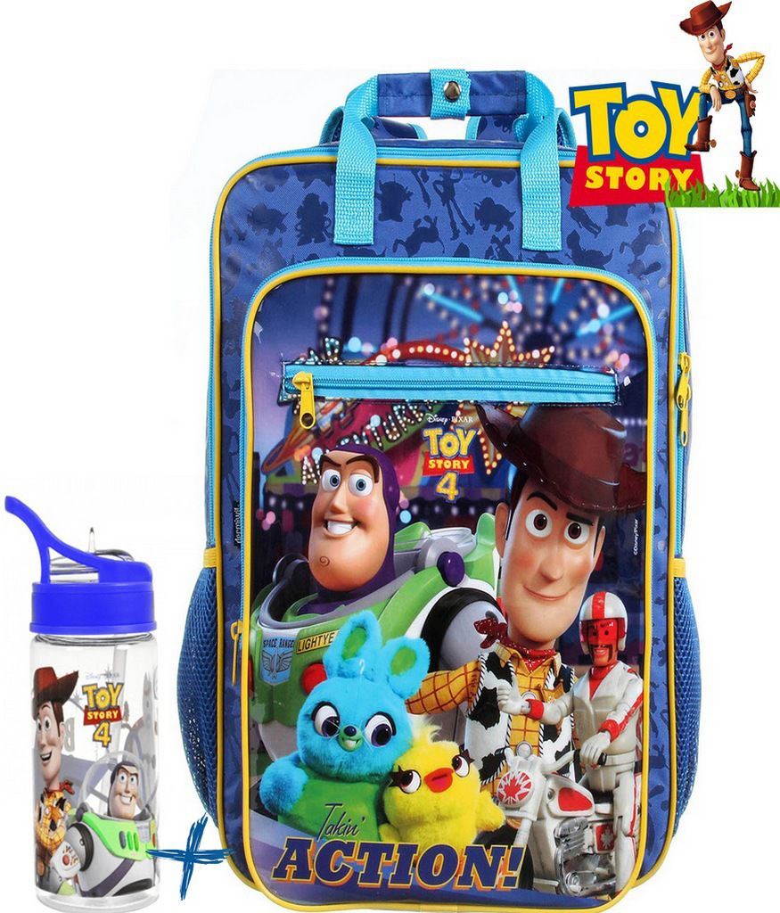 Kit Conjunto Mochila Toy Story 4 Infantil Grande Azul Menino + Garrafinha 350 Ml Buzz e Wood Dermiwil