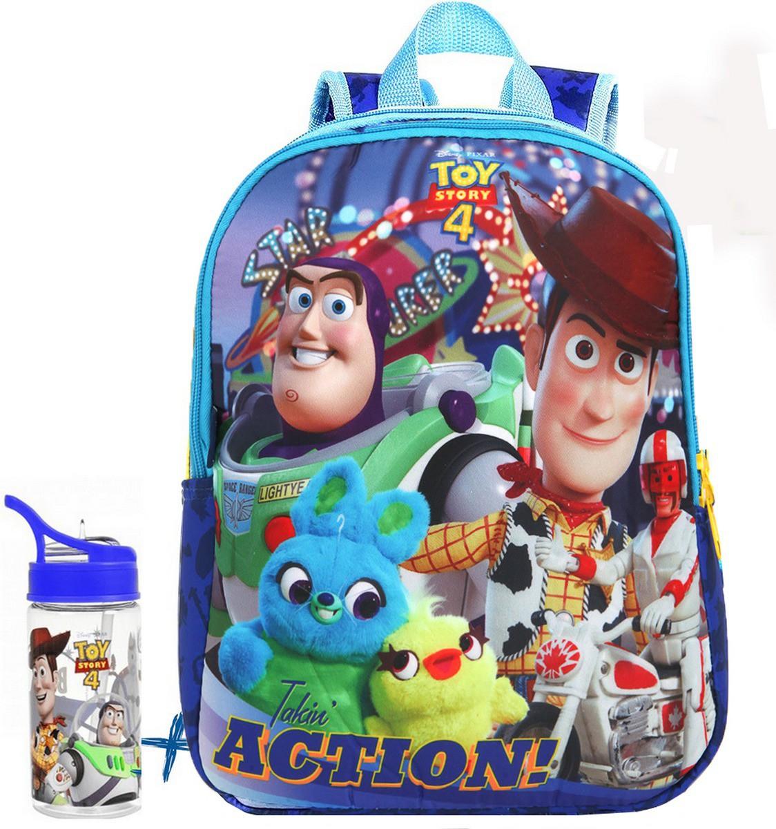 Kit Conjunto Mochila Toy Story Pequena Menino Acolchoada Costa Buzz Wood Impermeável + Garrafinha 350 Ml Resistente Dermiwil