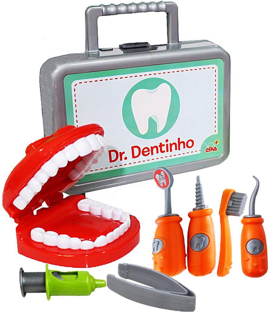 Kit Dr (a) Dentinho Maleta Acessórios Infantil Educativo Criança Maior 3 Anos Boca Escova Menino Menina Original Elka