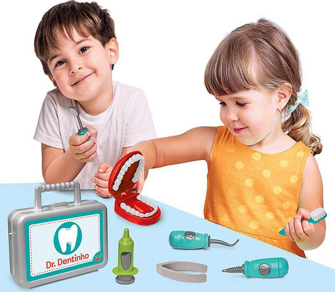 Kit Dr (a) Dentinho Maleta Acessórios Infantil Educativo Criança Maior 3 Anos Boca Escova Menino Menina Bolhas De Sabão Elka