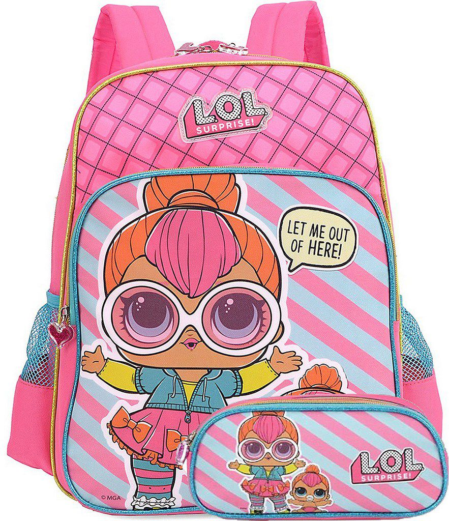 Kit Escolar Lol Surprise Mochila Costas Rosa Estojo Duplo Resistente Original Luxcel