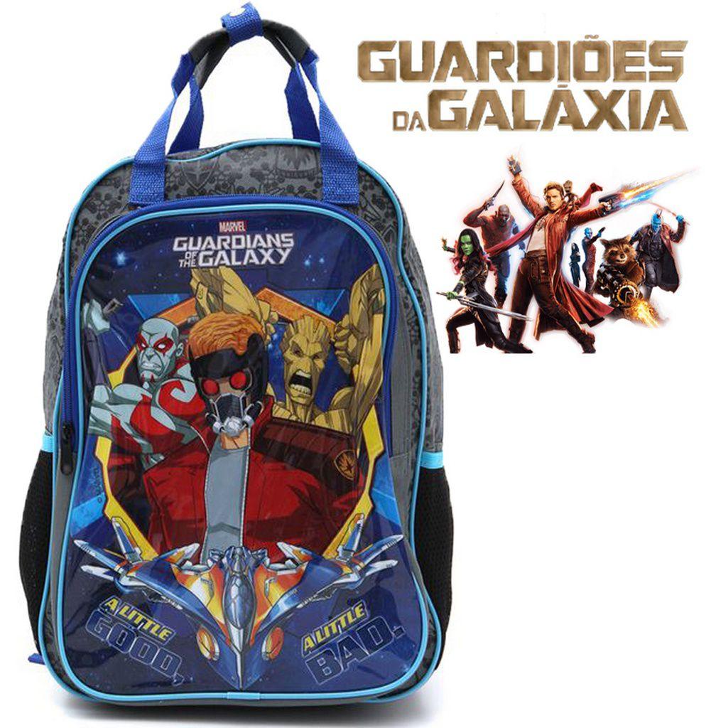 Kit Escolar Menino Guardiões Da Galáxia Marvel Mochila + Estojo Duplo