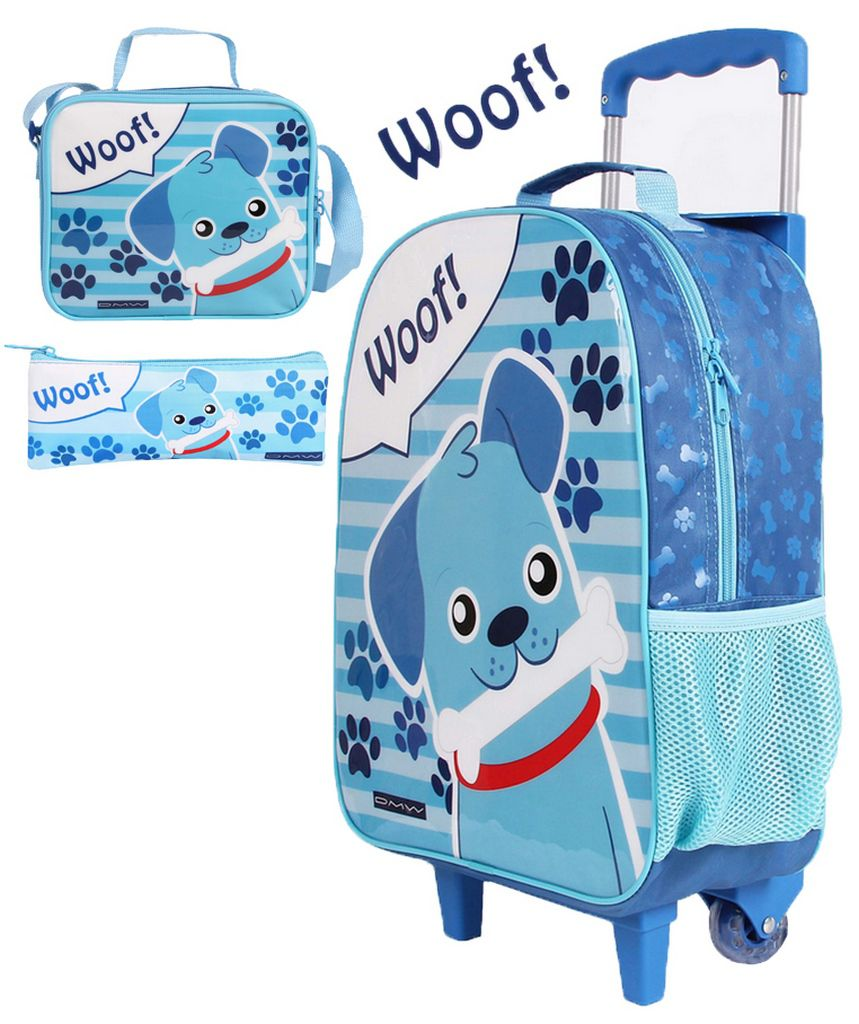 Kit Escolar Woof Infantil Menino Mochila Resistente + Lancheira e Estojo DMW