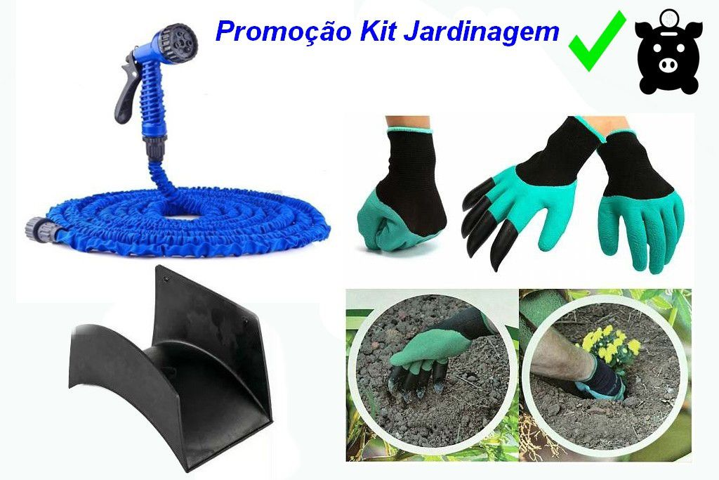 Kit Mangueira Mágica 30 m + Suporte Plastico Preto + Luva Jardinagem