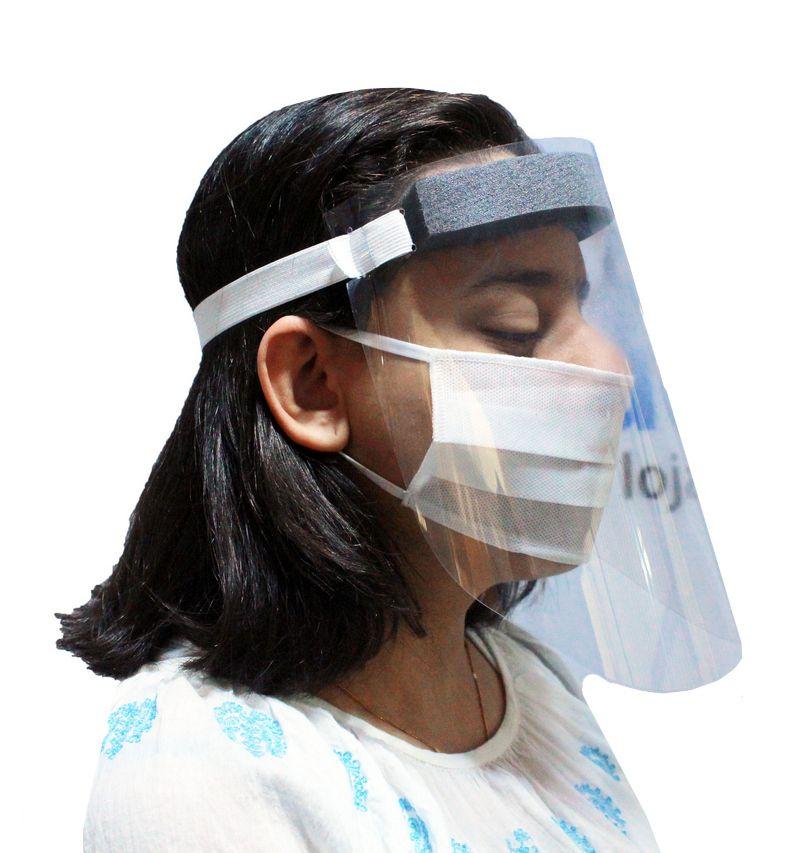 Máscara De Proteção Facial Viseira Transparente Respingo Com Elástico + 2 Álcool Em Gel 70% Bactericida Antisséptico Hidratante Para As Mãos 50 Ml