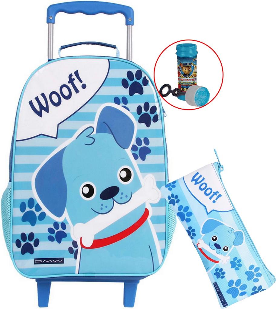 Kit Mochila Bolsa Carrinho Infantil Woof Menino Bolhas De Sabão Azul Com Rodas Silicone Resistente Impermeável + Estojo Simples Pequeno Dmw