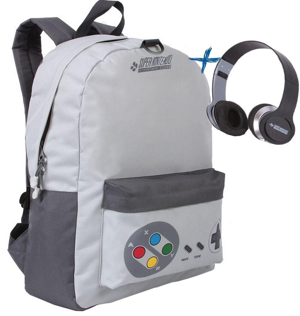 Kit Mochila Bolsa Escolar Costa Masculina Tamanho Grande Impermeável Super Nintendo Vídeo Game + Fone De Ouvido Dmw Lançamento Novo