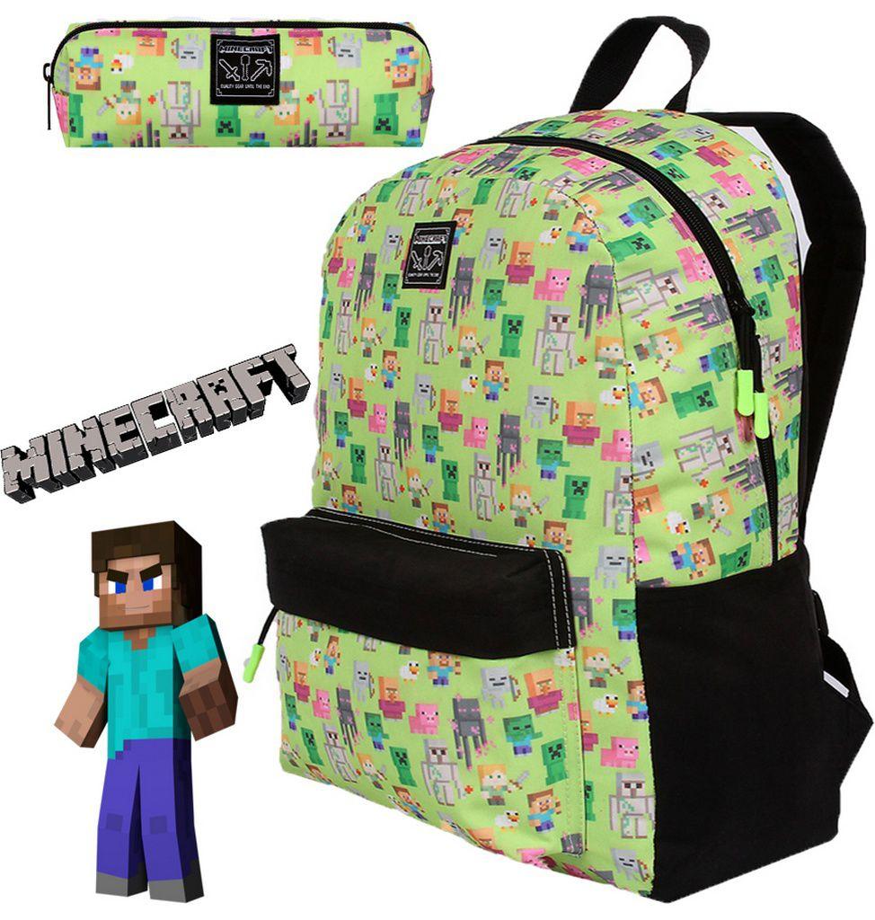 Kit Mochila De Costas Escolar Infantil Minecraft Menino + Estojo