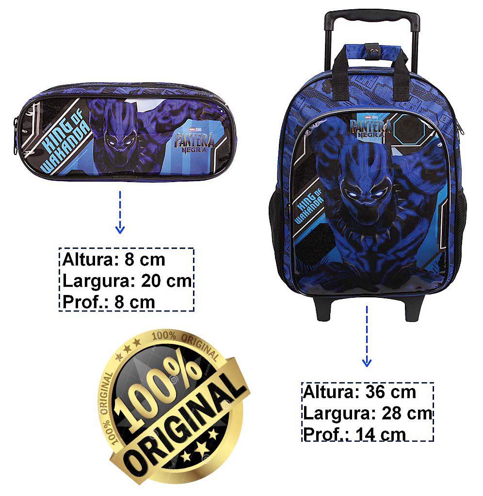 Kit Mochila Escolar Infantil Azul Carrinho Rodinha Pantera Negra Marvel Menino + Estojo DMW